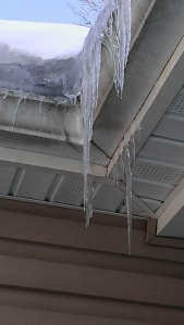 Great care must be taken when walking under these  frozen hazards.